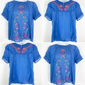 Umgee Womens Large Blouse Embroidered